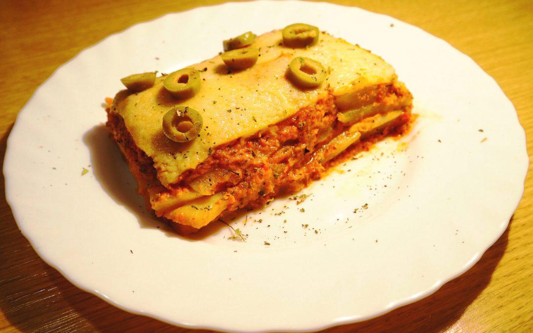 Lasaña de verduras y atún sin pasta