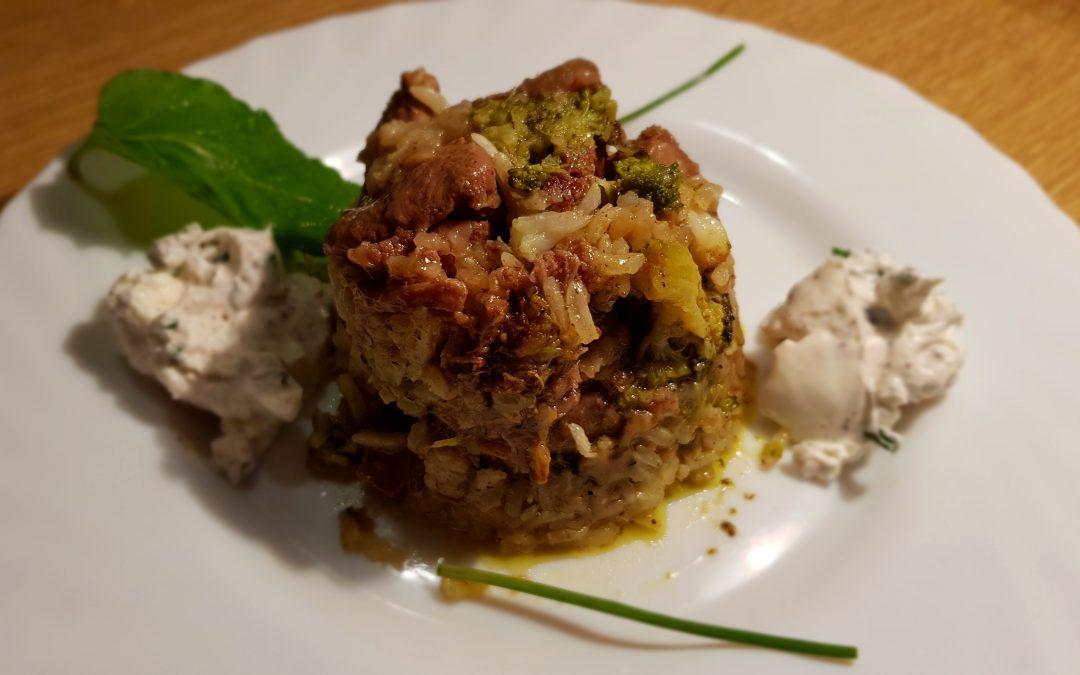 Maqluba (paella árabe) de cordero