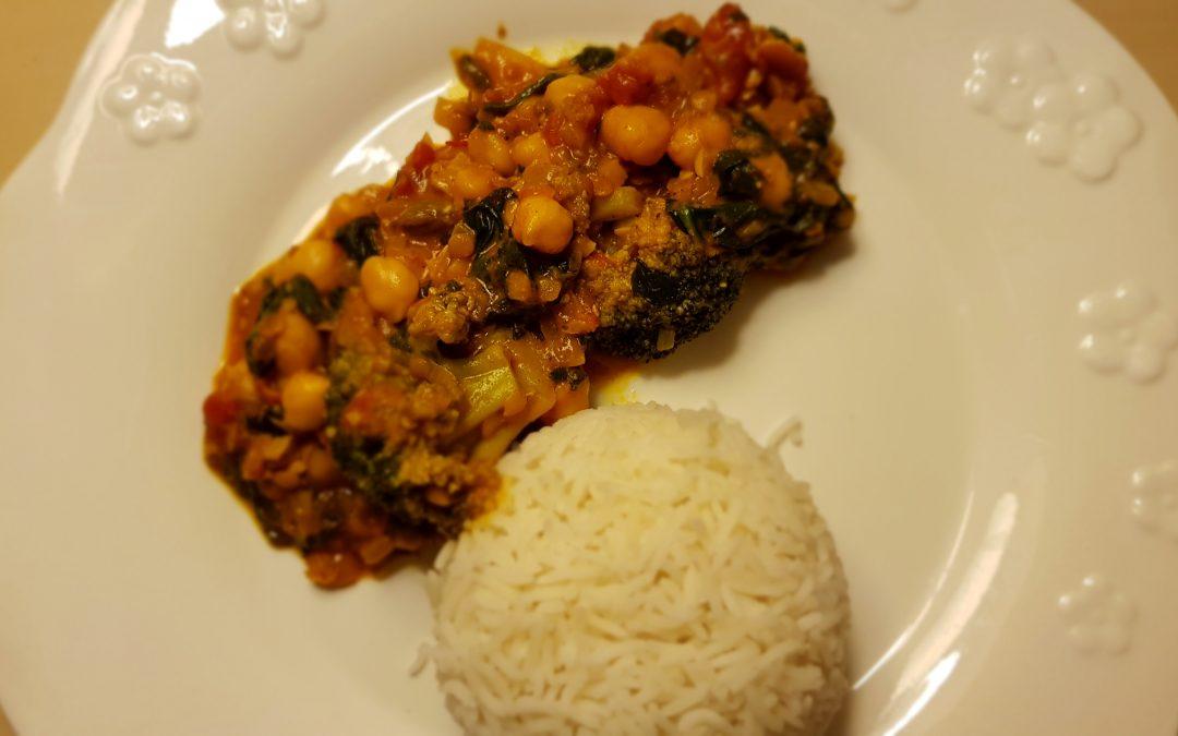 Curry de espinacas y garbanzos