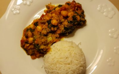 Curry de espinacas y garbanzos